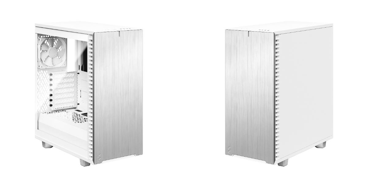 Define 7 Compact 極光白左側裝上透側玻璃,與右靜音側板。