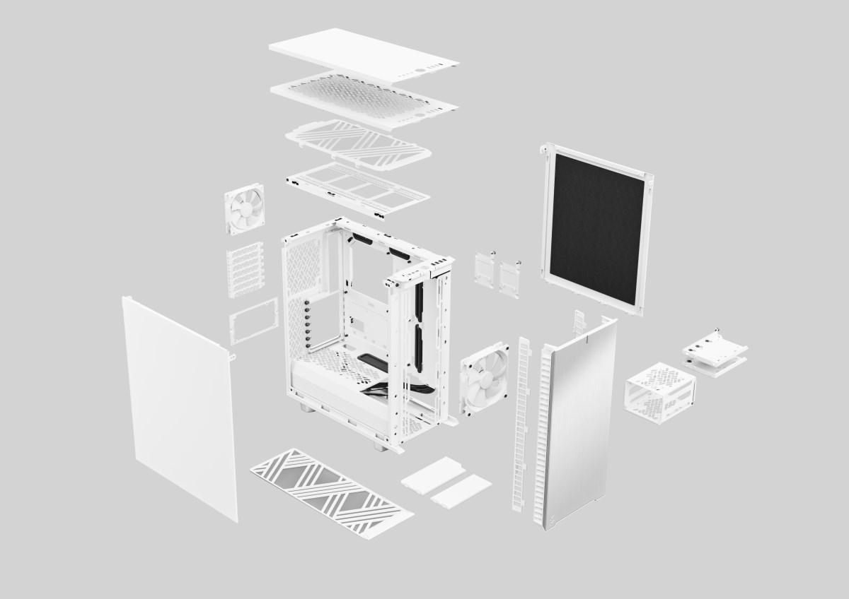 Define 7 Compact 極光白爆炸圖 (此為無側透側板示意圖)。