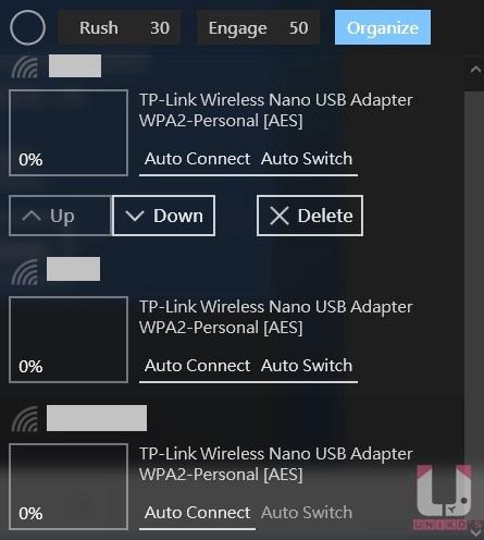 Organize 官方說明為更改無線設定檔的順序(優先權),刪除無線設定檔。