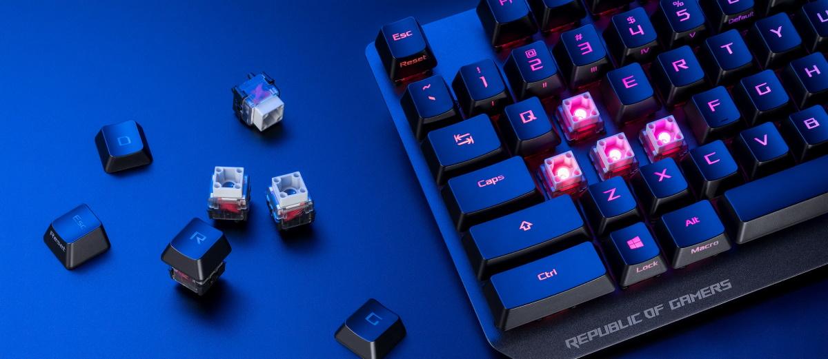 ROG Strix Scope RX 採用 ROG RX 光學紅軸,每顆按鍵皆搭載 RGB LED 燈可獨立發光。