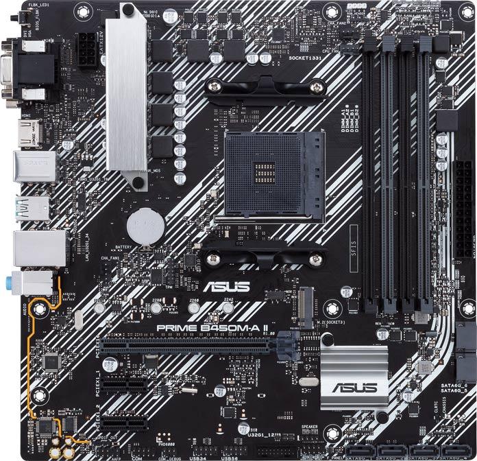 Prime B450M-A II 主機板正面一覽。