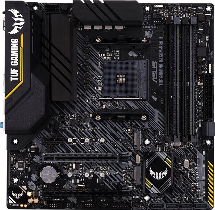 TUF Gaming B450M-Pro II 主機板正面一覽。