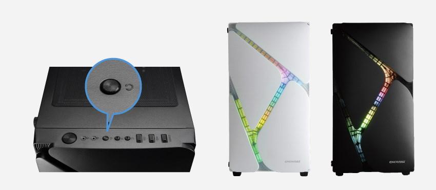 冰曜石提供 2 種幻彩 RGB 控制方式,除透過主機板軟體進行同步控制外,另一種是透過機殼上方的 I/O 面板來控制,至多可切換 13 種燈效。