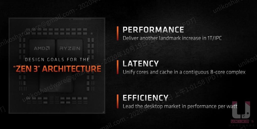 Zen 3 的三大重點:最佳性能、低延遲、高效率。