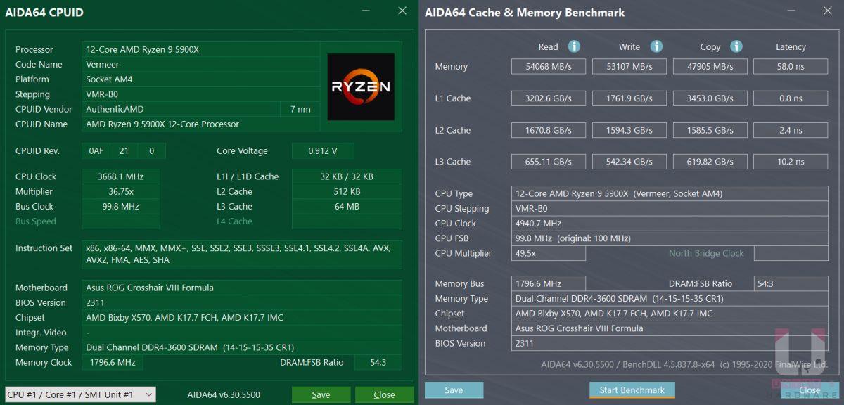 Ryzen 9 5900X CPU 相關資料與記憶體和快取測試數據。