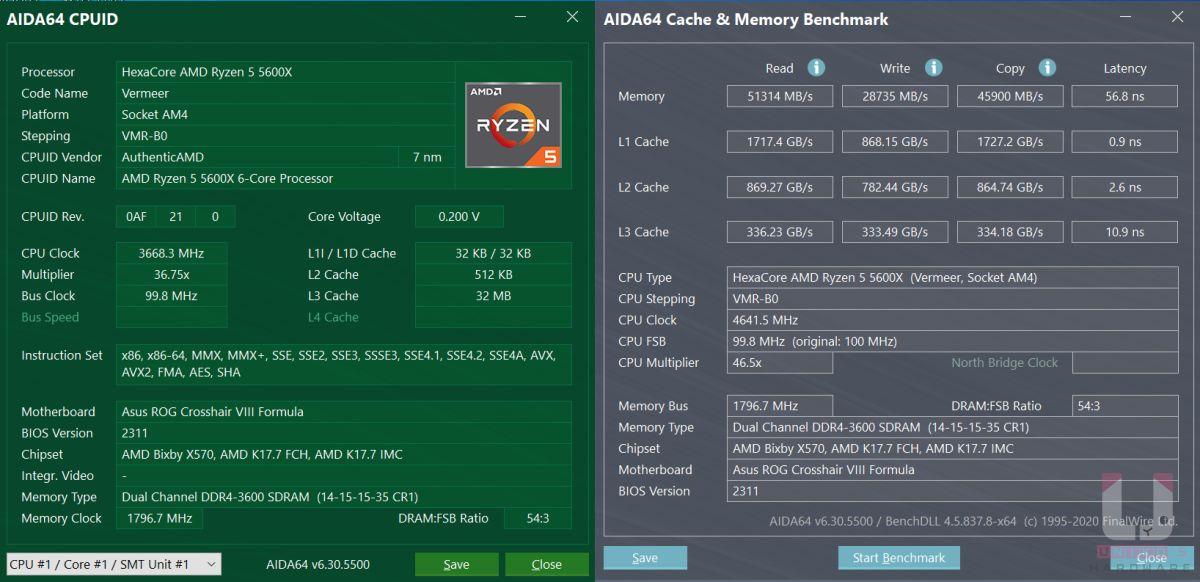 Ryzen 5 5600X CPU 相關資料與記憶體和快取測試數據。