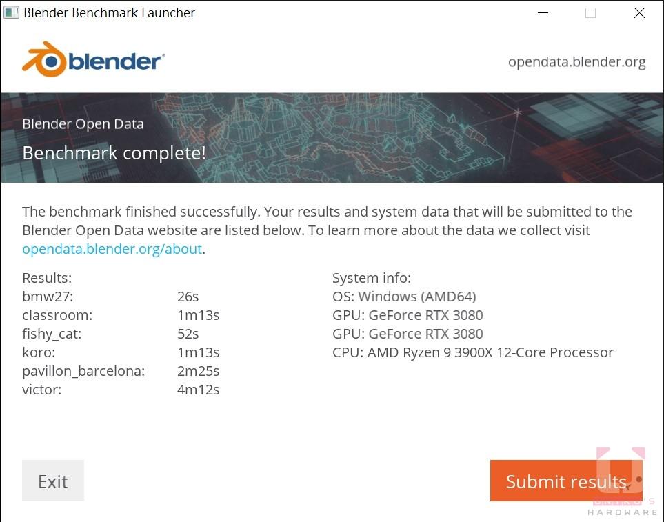 Blender Results,秒數越低越好。