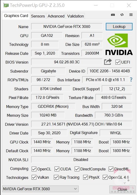 GeForce RTX 3080 VISION OC 10G 的 GPU-Z 資料。