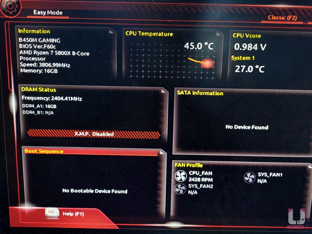 筆者一樣找一張 B450M Gaming 試刷,5800X 實測可開機,BIOS 中 CPU 辨識正常。