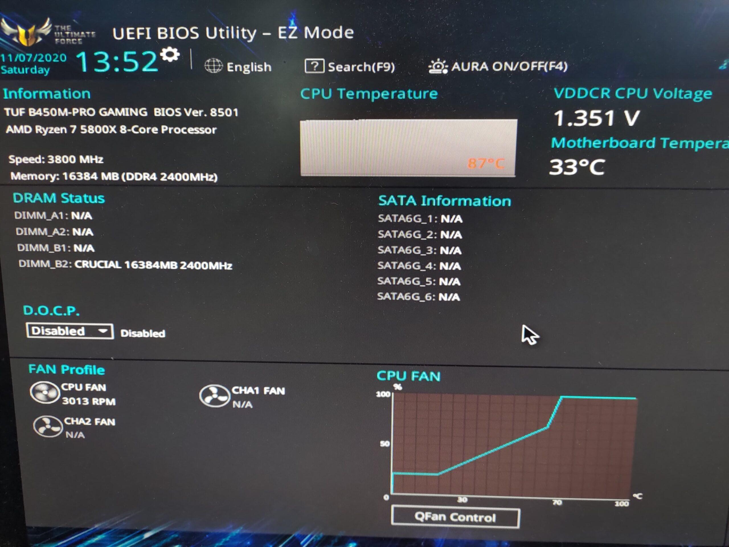 筆者實際用 B450M-PRO GAMING 試刷,換上 5800X 的確能正常開機辨識到 CPU 型號。