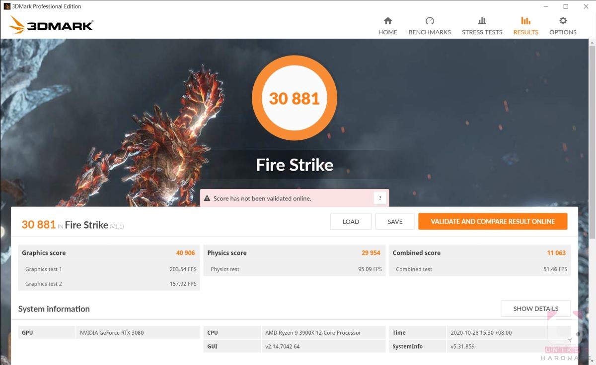 Fire strike 30881,Graphics Score 40906。