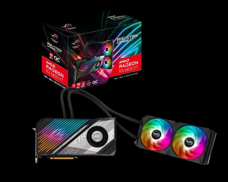 ROG Strix LC Radeon RX 6800 XT 顯示卡結合風冷與一體式水冷的散熱效果,針對高效顯示卡特別設計自訂水冷散熱模組。