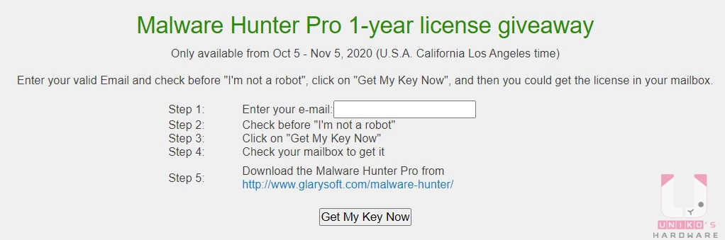 按此開啟活動網頁,輸入電子郵件信箱並勾選 I'm not a robot,最後按下 Get My Key Now。