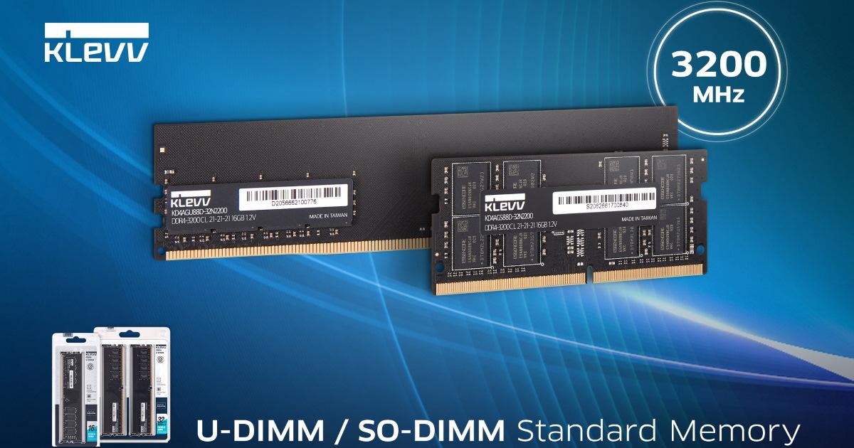 KLEVV 科賦推出高速 DDR4 3200MHz 記憶體。