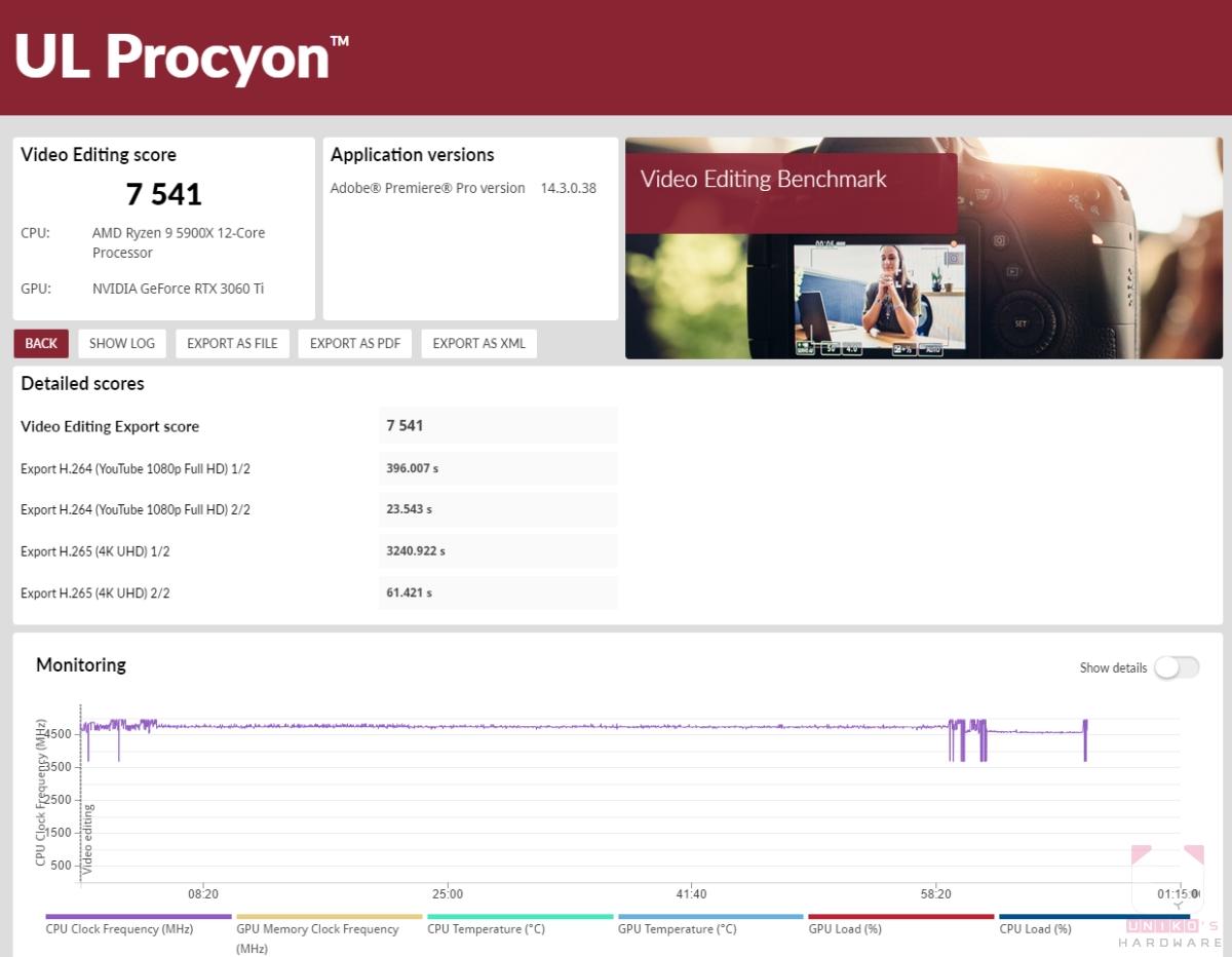 UL Procyon benchmark - 影像測試,分數 7541。