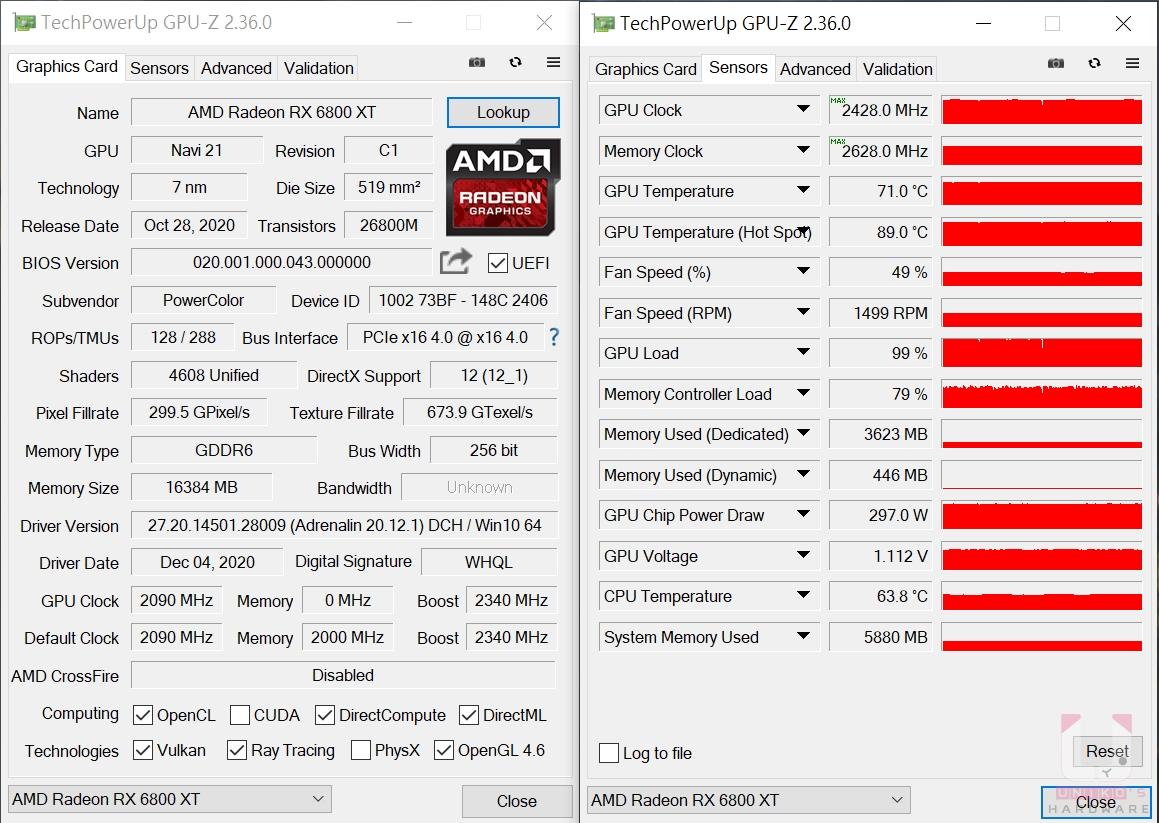 GPU 溫度約 71 度、GPU Hot Spot 89 度,最高 GPU 頻率 2428 MHz,記憶體最高 2628 MHz,風扇轉速 1499 RPM。