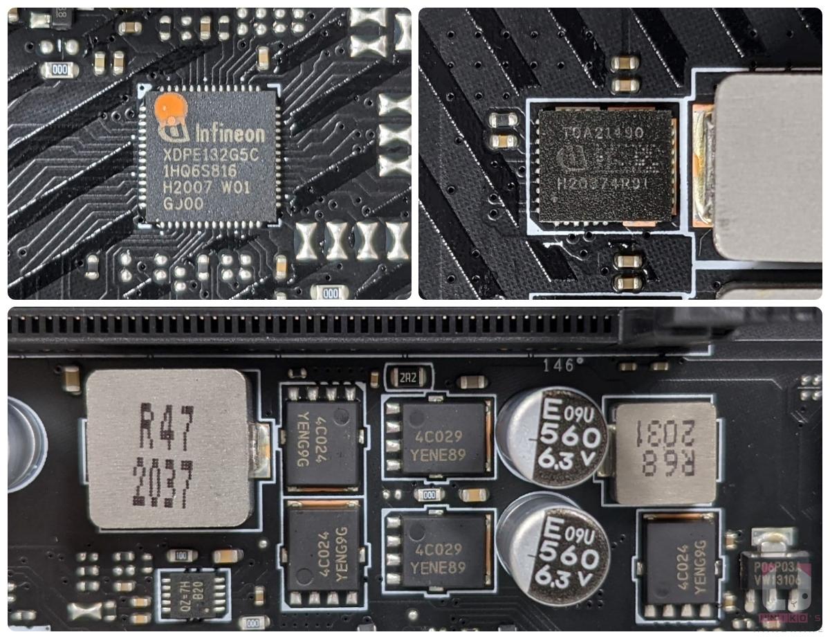 Infineon XDPE132G5C (14+2)、Infineon TDA21490 90A,底下是記憶體供電區域。