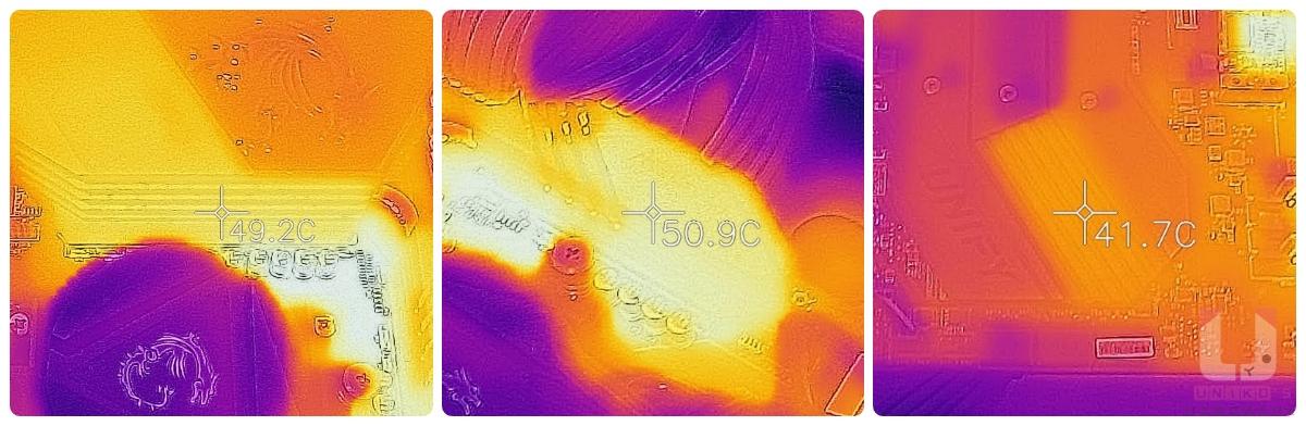 靠近 I/O 處約在 49.2 度,另一處約在 50.9 度,晶片組散熱器約在 41.7 度。