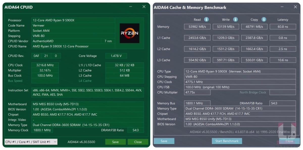 AIDA64 相關資訊,記憶體延遲可以達到 60ns。