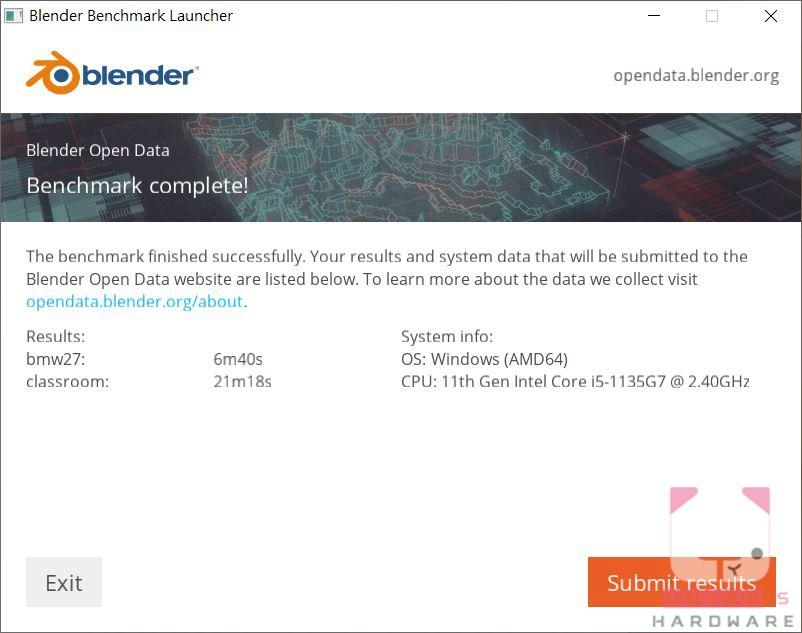 Blender Benchmark 結果如上圖。