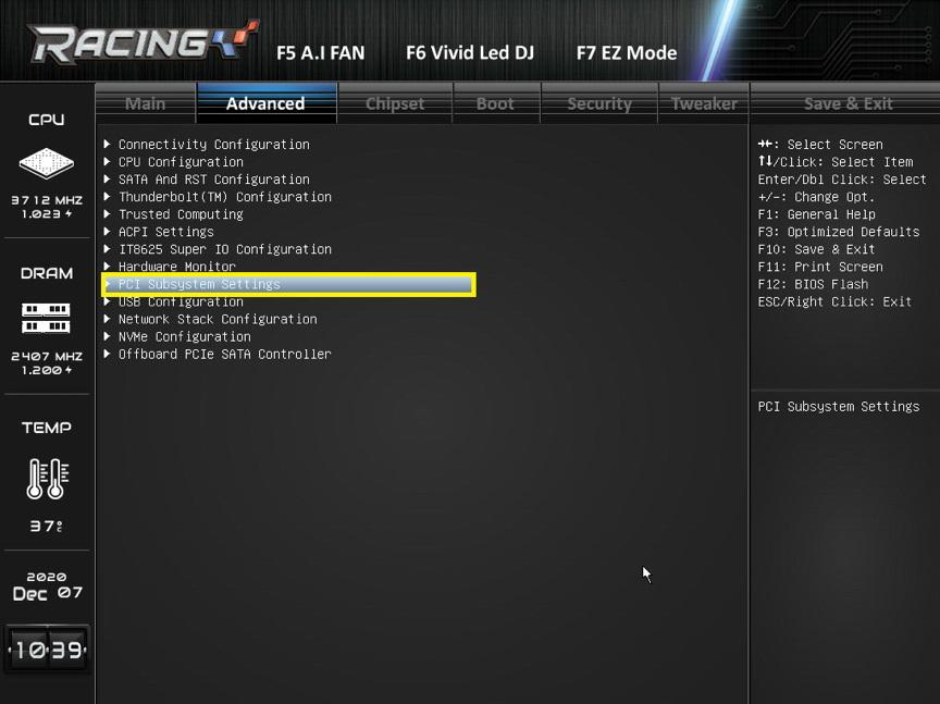 """步驟 3. 點選 """"PCI Subsystem Settings""""。"""