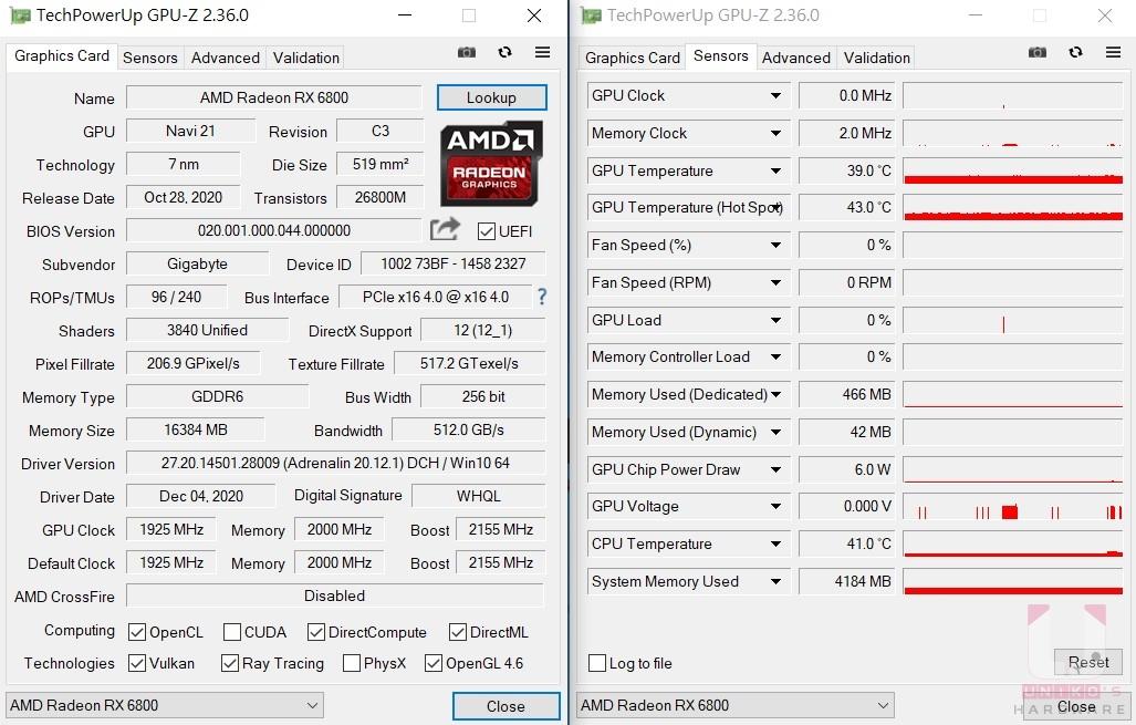 BIOS OC 待機數據。