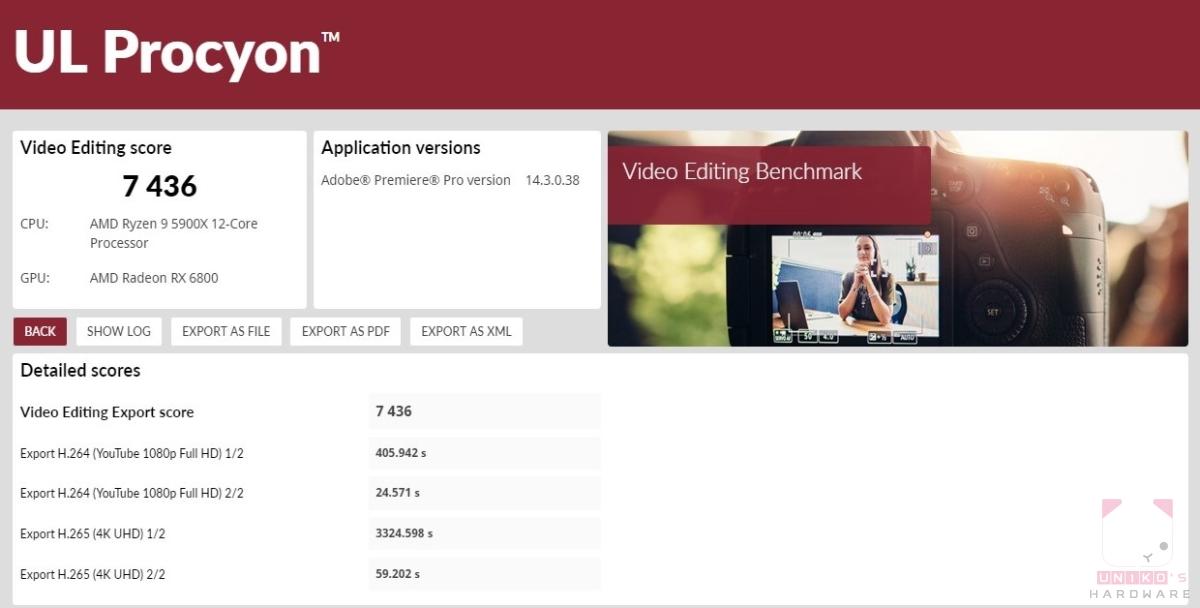 UL Procyon benchmark – 影像測試,分數 7436。