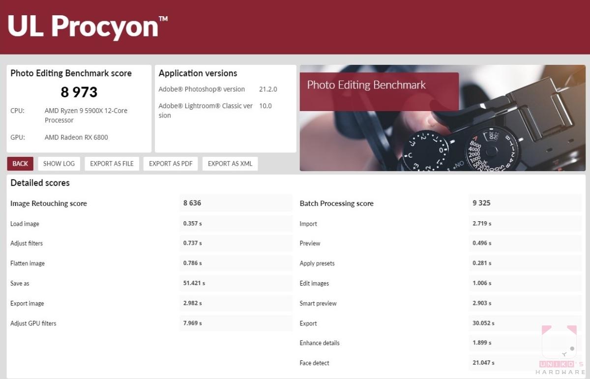 UL Procyon benchmark – 照片編輯,分數 8973。
