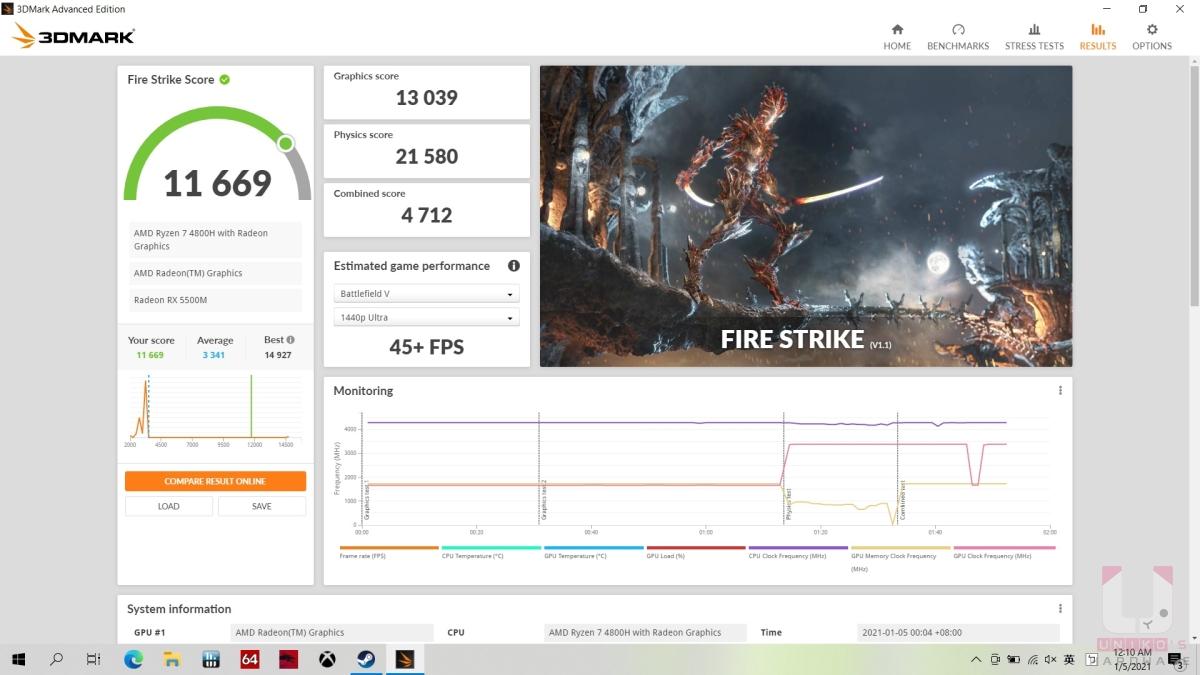 R7 4800H,3DMARK Fire Strike 11669。