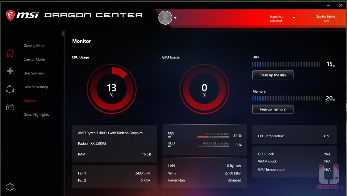 Dragon Center 為 MSI 專屬的筆電控制中心,Monitor 頁面中可以看到各項硬體數據,包含 CPU、GPU 溫度以及使用率,硬碟、網路等使用即時狀況等,相當詳細。