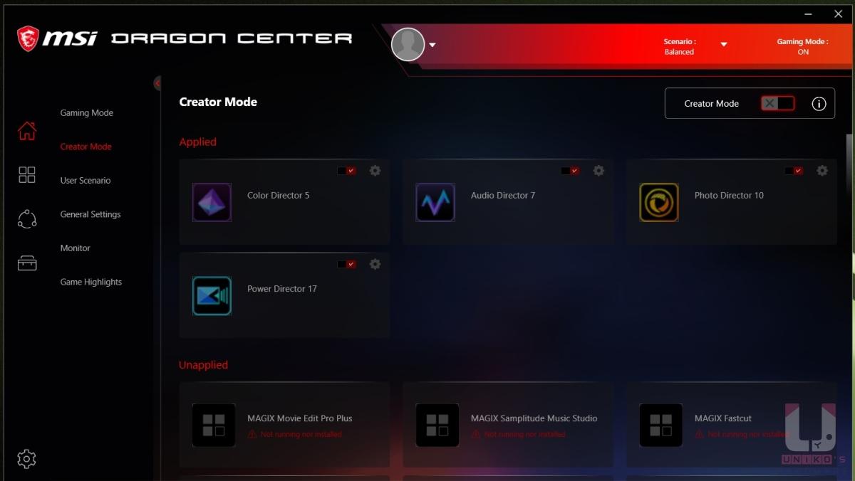 提供 Gaming 及 Creator 兩種模式切換。