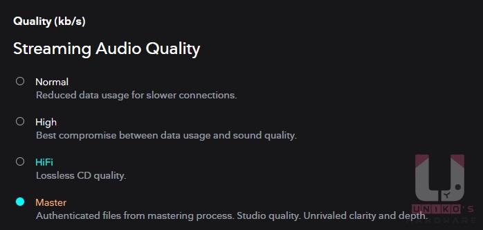 記得進入帳戶設定中調整串流音質,將其選至 Master 等級確保最佳音質。
