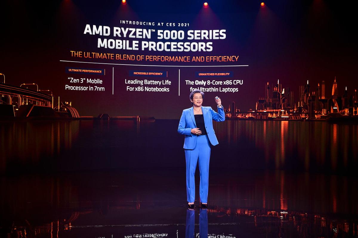 AMD 總裁暨執行長蘇姿丰博士在 CES 2021 發表 Ryzen 5000 系列行動處理器。