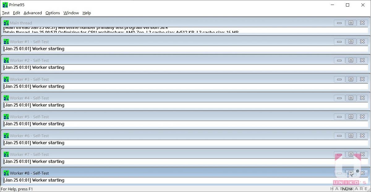 測試時會依執行緒數量顯示相對的視窗數量。