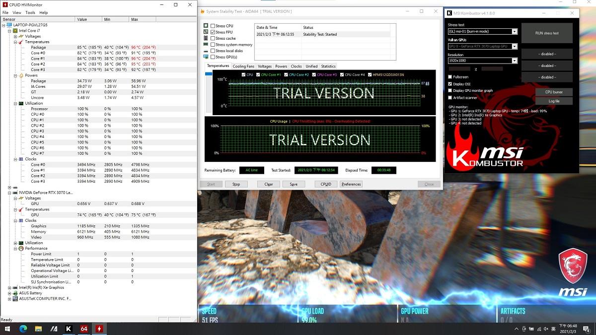 CPU + GPU 同時燒機測試,冷氣設在 27 度但在機器測試位置在冷氣附近,30 分鐘後 CPU 溫度約 85 度,頻率約 3.4GHz,GPU 溫度落在 74~75 之間,頻率約 1.1 GHz。