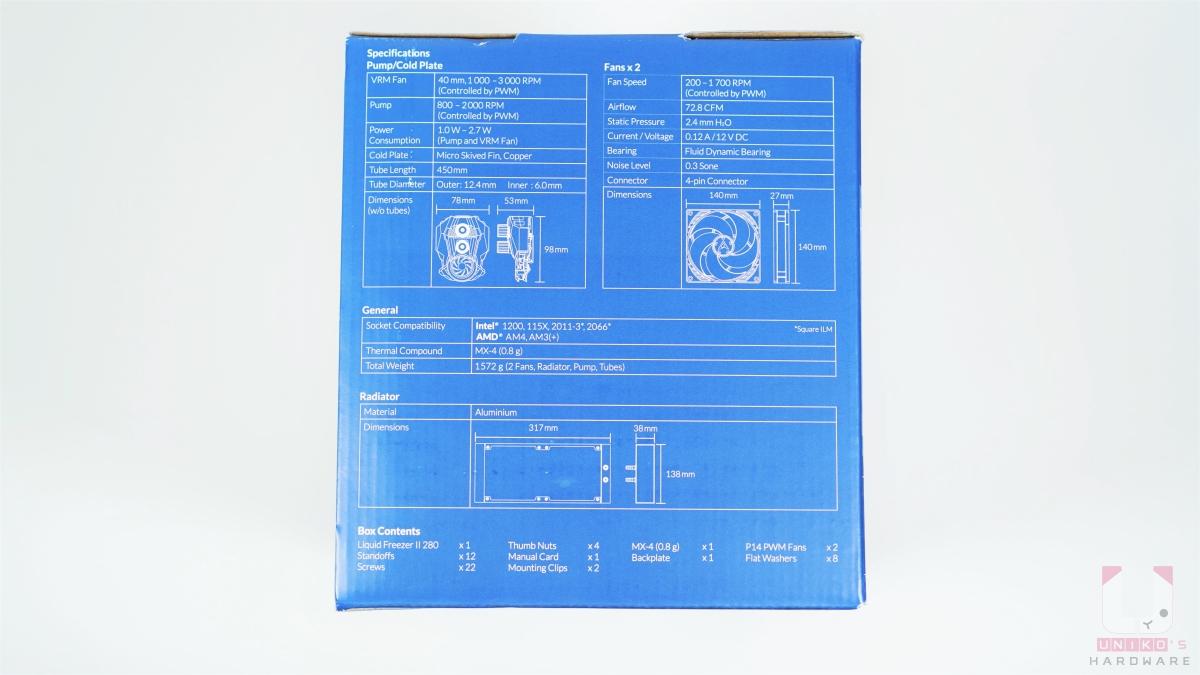 ARCTIC Liquid Freezer II 280 包裝側面。