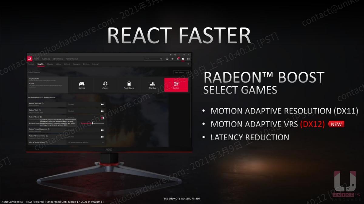 Radeon Boost 在 DX 12 新增運動自適應可變速率著色 (VRS)。