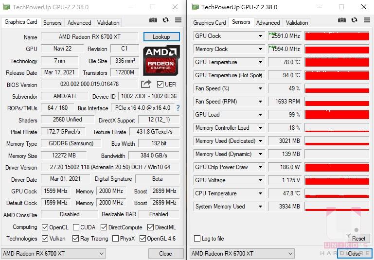 Radeon RX 6700 XT GPU-Z 資料。