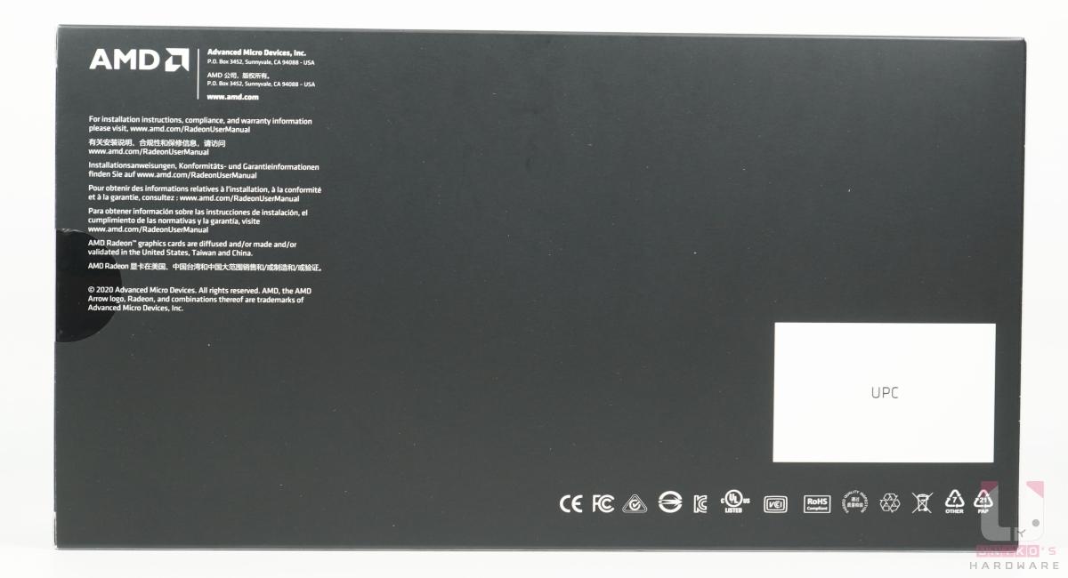 Radeon RX 6700 XT 包裝背面。
