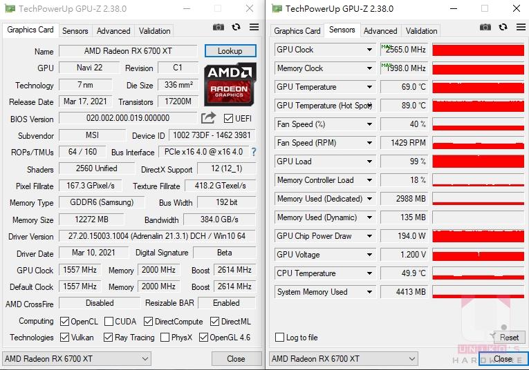 MSI Radeon RX 6700 XT GAMING X 12G GPU-Z 資料。