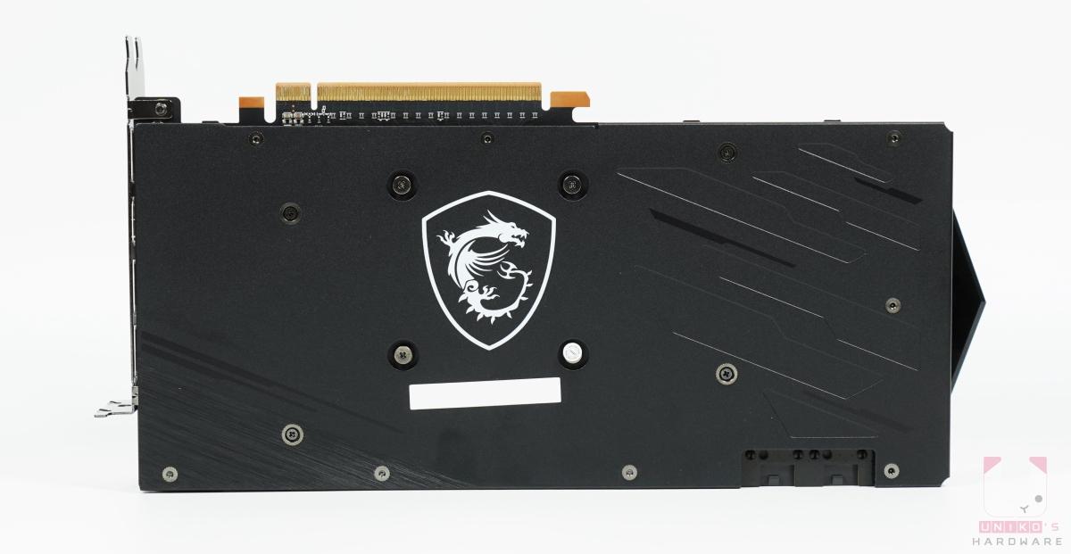 MSI Radeon RX 6700 XT GAMING X 12G 背面。