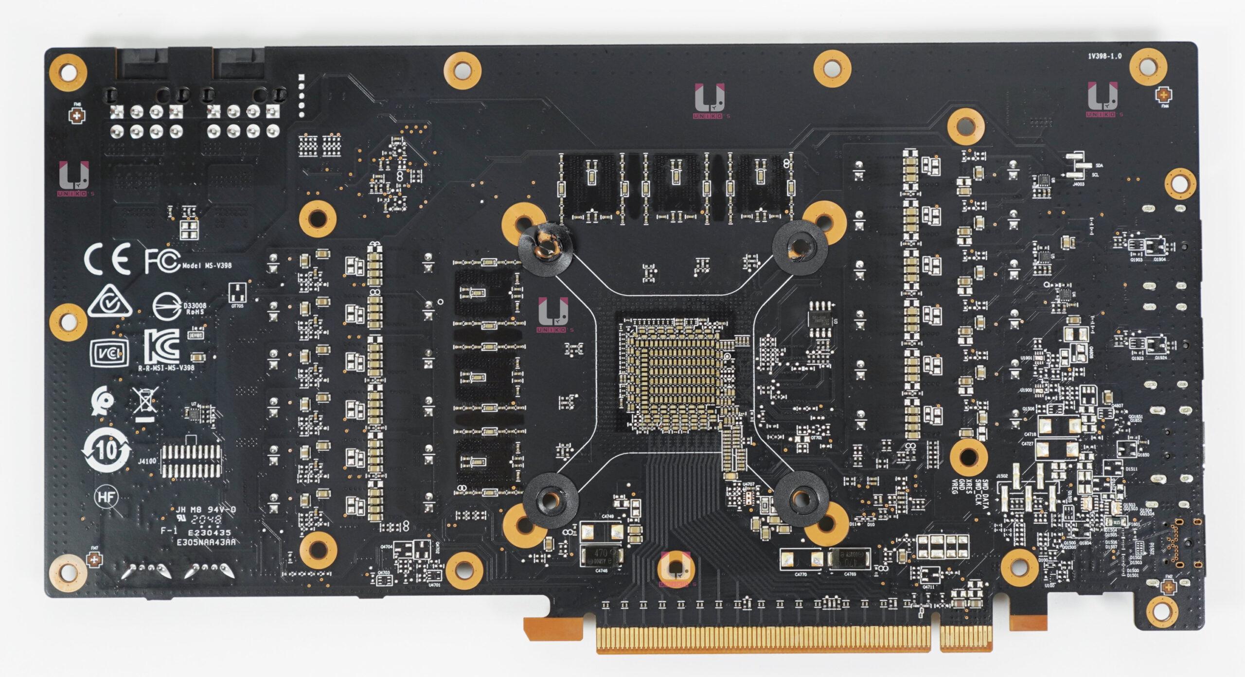 MSI Radeon RX 6700 XT GAMING X 12G PCB 背面。