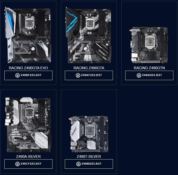 BIOSTAR Z490 主機板清單。