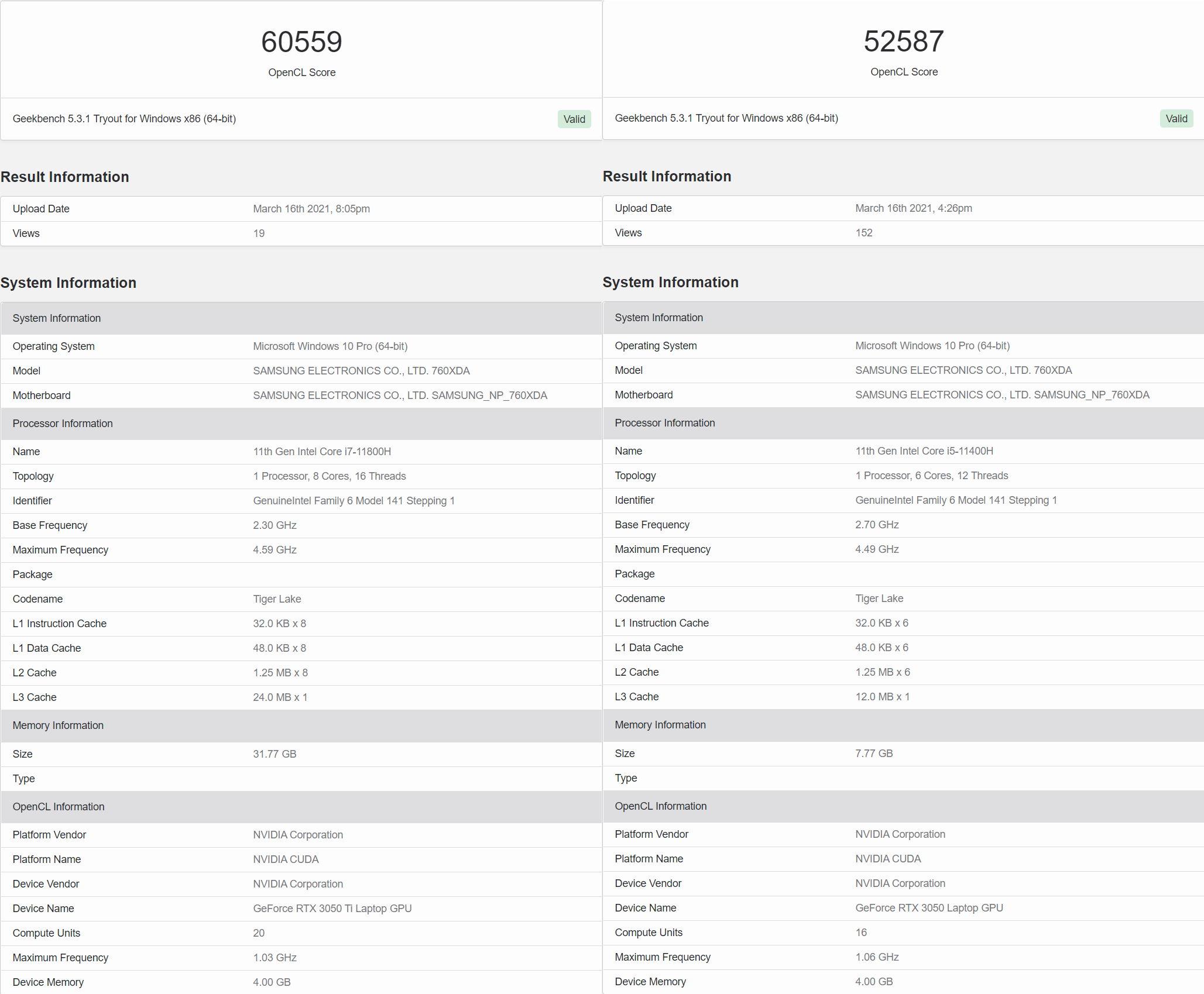 Geekbench 資料庫中關於 GeForce RTX 3050 系列筆電版雙顯卡的規格和效能。