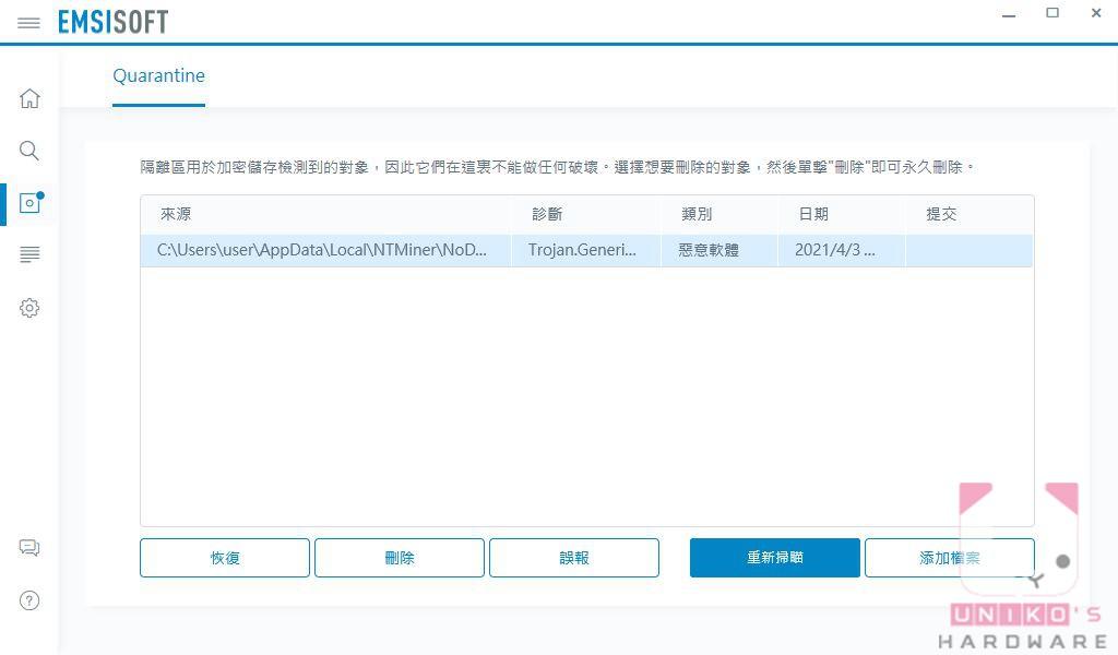 隔離區除了能回復誤隔離的檔案外,還可提報檔案誤報。