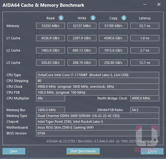AIDA64 記憶體和快取資料。
