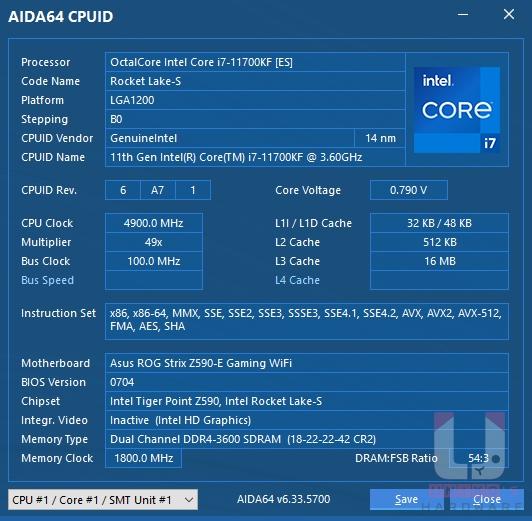 AIDA64 CPU 資料。