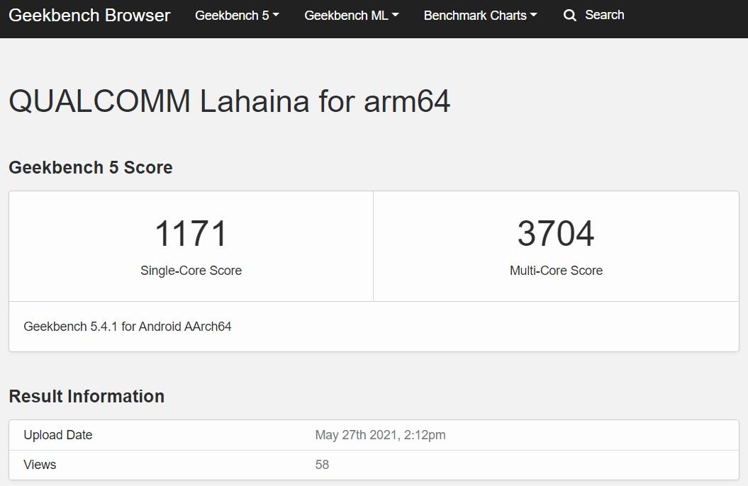 疑似 Qualcomm Snapdragon 888 Pro 的 Geekbench 跑分。