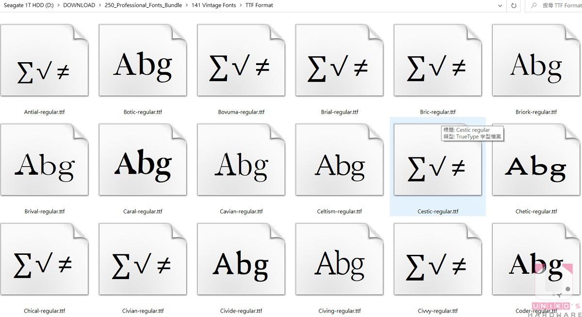 解壓縮後在要使用的字體上按滑鼠右鍵選擇安裝即可,也可以直接全選進行安裝。