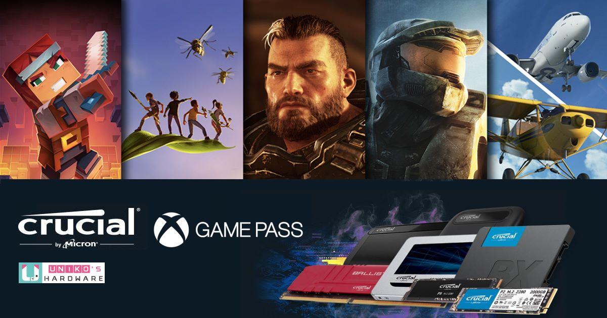PC 遊戲玩家照過來~ 即日起購買指定 Crucial 產品,登錄後就能獲得一個月 Xbox Game Pass 喔